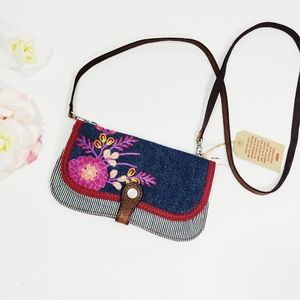 Lucky Brand Embroidered Denim Small Crossbody Bag